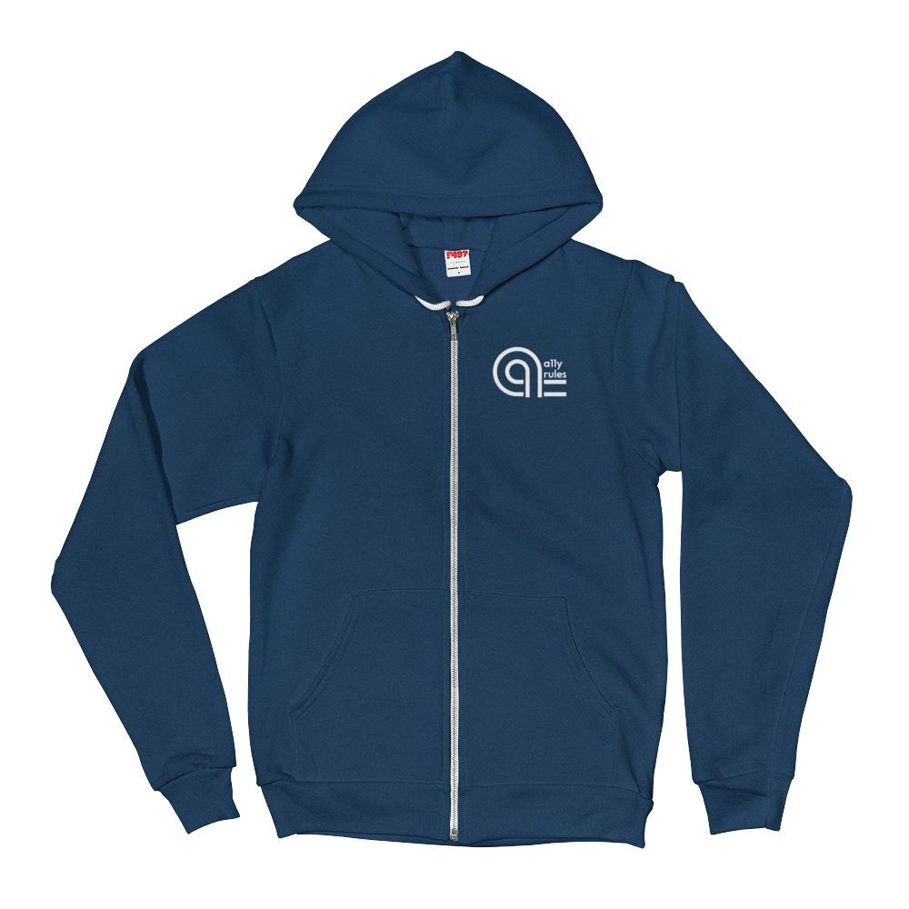 Blue hoodie with white A11y Rules logo