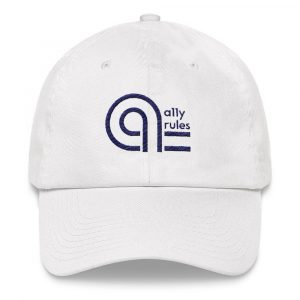White baseball cap with blue A11y Rules logo